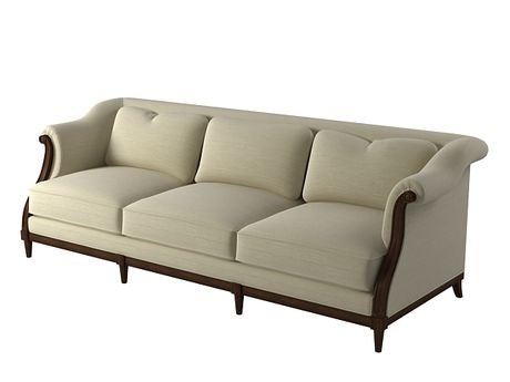 UPHOLSTERED SOFA. Exposed wood frame with egg and