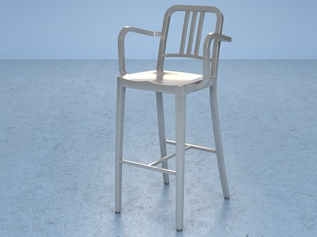 Navy Barstool With Arms 4