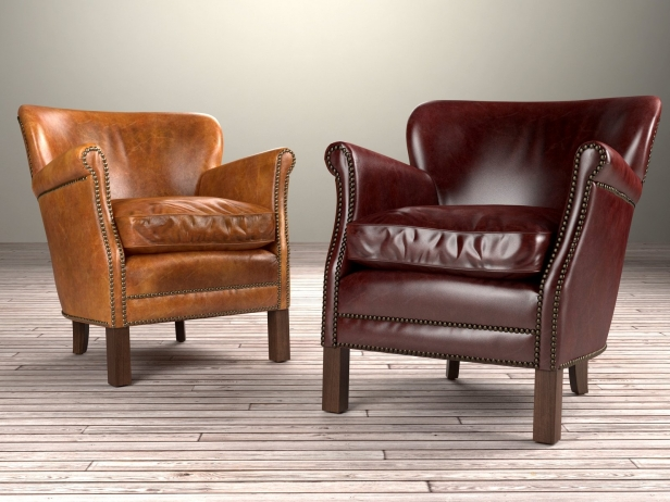 professor's leather chair with nailheads 3d model | restoration