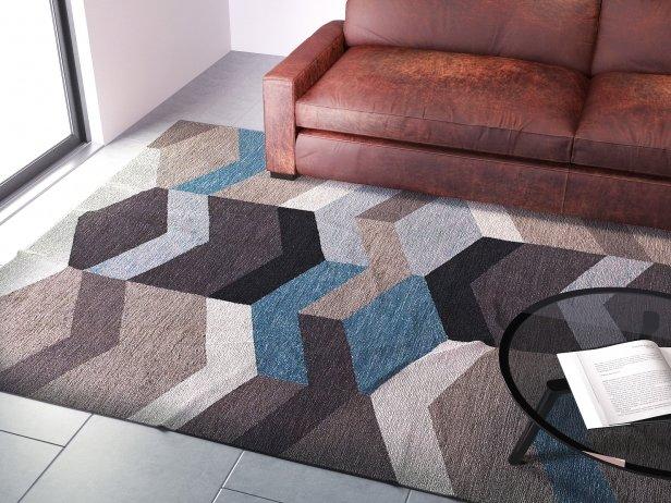 Geo wool kilim mod le 3d west elm - Tapis laine contemporain solde ...