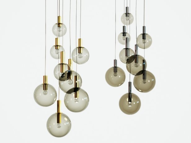 Brass and Smoked Glass Ceiling Lights 2