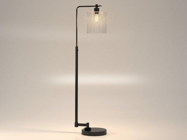 Seeded Glass Industrial Floor Lamp 3