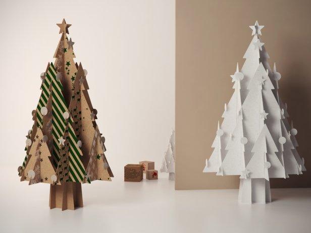 Cardboard Christmas Tree.Cardboard Christmas Tree With Stars