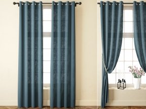 Solid Bule Linen Curtains