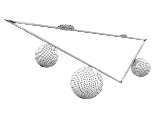 Triangle 2+1 Globe Ceiling Lamp 2