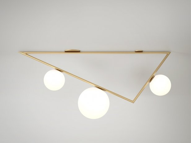 Triangle 2+1 Globe Ceiling Lamp 1