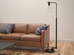 Seeded Glass Industrial Floor Lamp