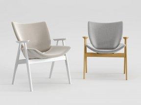 Shell Wood Armlounge Upholstered