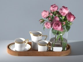 Rose Bouquet and Coffee Set on Wooden Tray