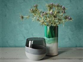 Eryngium in Multi Colored Vase