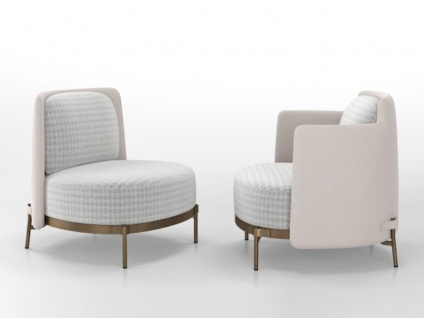 Tape Armchair with Armrests 3d model | Minotti, Italy