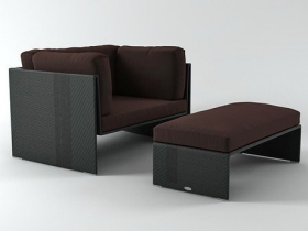 Slim Line Lounge Chair and Footstool