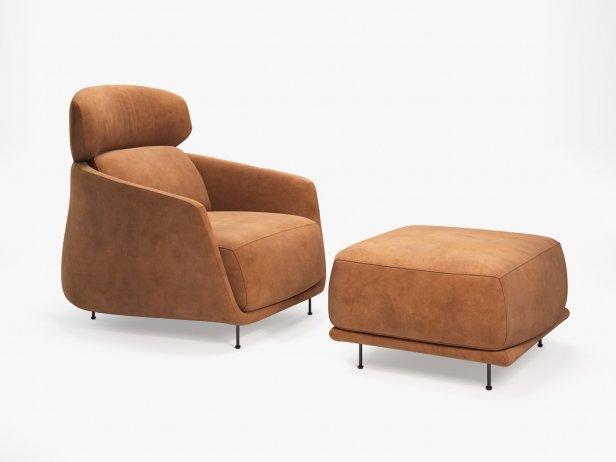 Okura Armchair High Back and Ottoman 1