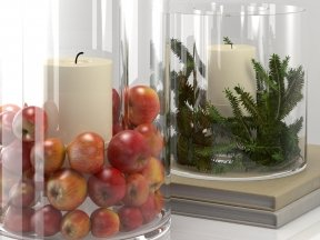 Glass Display Hurricanes with Apples