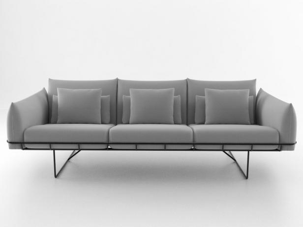 wireframe sofa 3 seat 3d modell herman miller. Black Bedroom Furniture Sets. Home Design Ideas