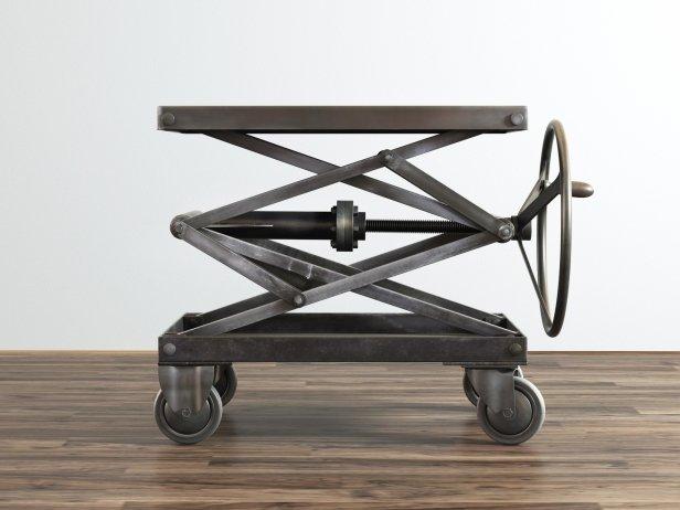 Industrial Scissor Lift Table 3d Model Restoration Hardware