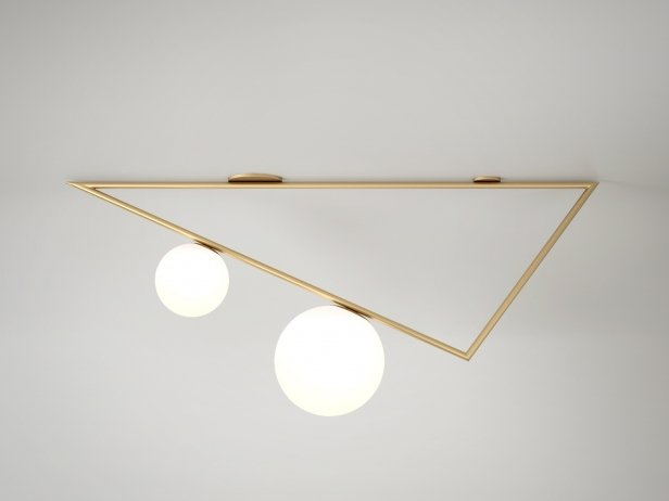 Domestic Triangle 2 Globes Ceiling Lamp 1
