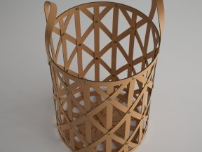 Woven Leather Cylinder Baskets