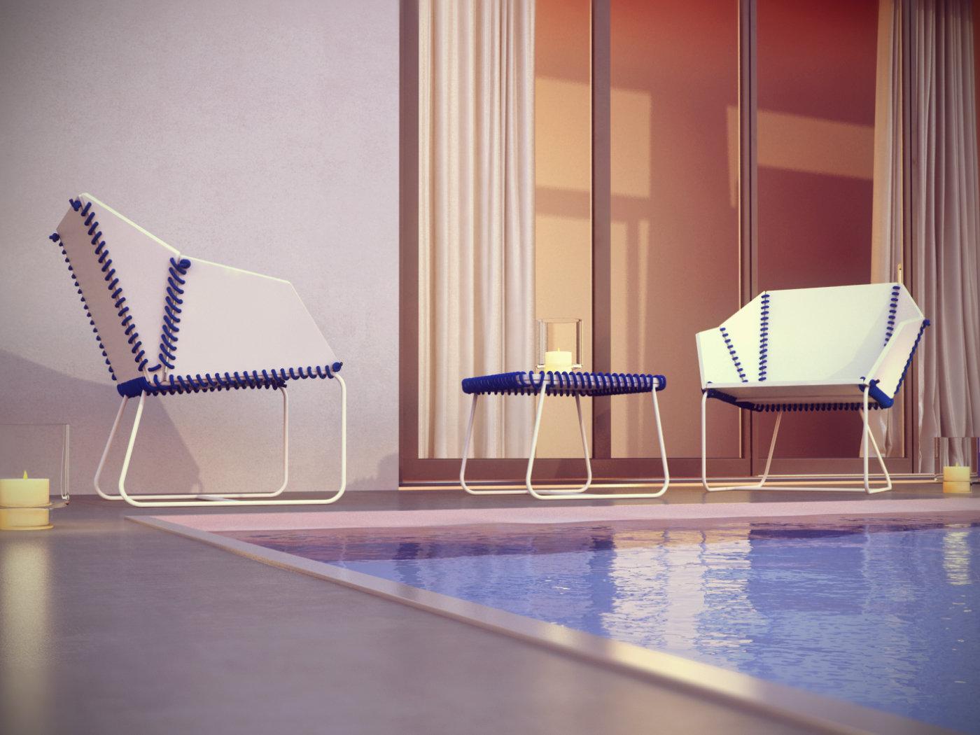 Textile armchair coffee table 3d model gandia blasco for Table design 3d model