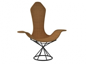 Wave Wicker And Rod Iron Chair