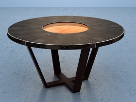 Leather Table with Lazy Susan