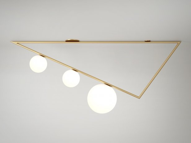 Triangle 3 Globes Ceiling Lamp 1