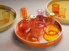 Glass Pitchers with Round Tray