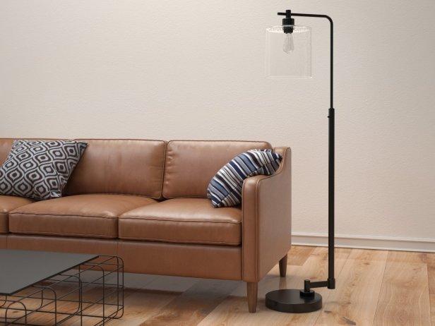 Seeded Glass Industrial Floor Lamp 1