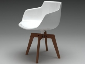 Flow armchair oak base