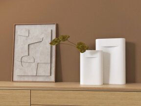 Ridge Vases with Anthuriums and Abstract art
