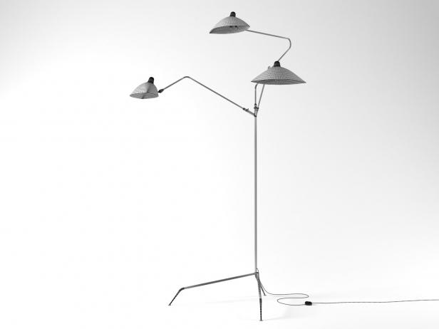 Three arm floor lamp 3d model serge mouille - Serge mouille three arm floor lamp ...