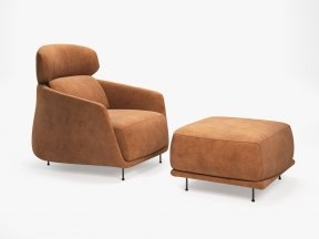 Okura Armchair High Back and Ottoman
