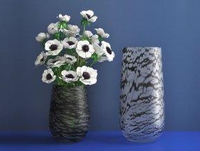 White Anemones in Silk Vase M