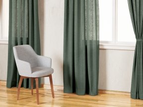 Country Solid Green Linen Curtains