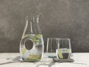 CRATE & BARREL Ona Large Pitcher and Glasses