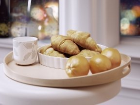 Tray with Croissants and Oranges