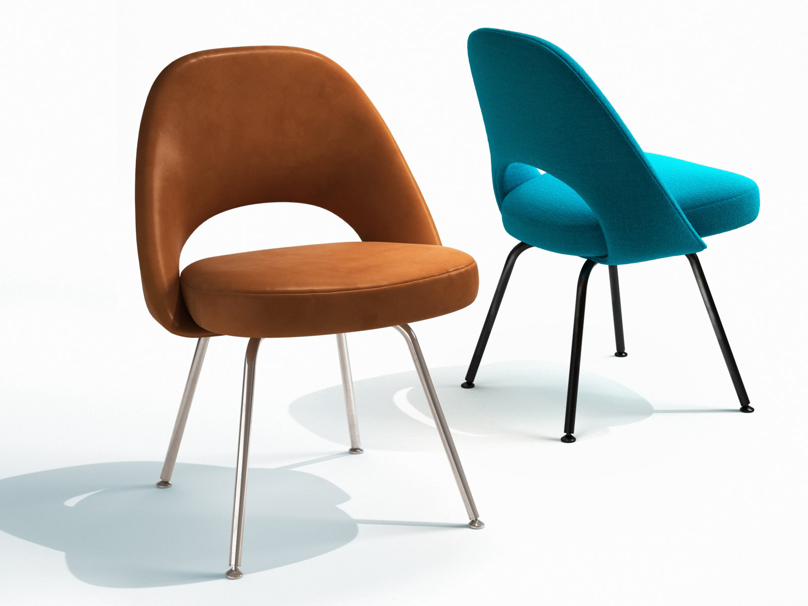 saarinen executive chair steel legs 3d model knoll