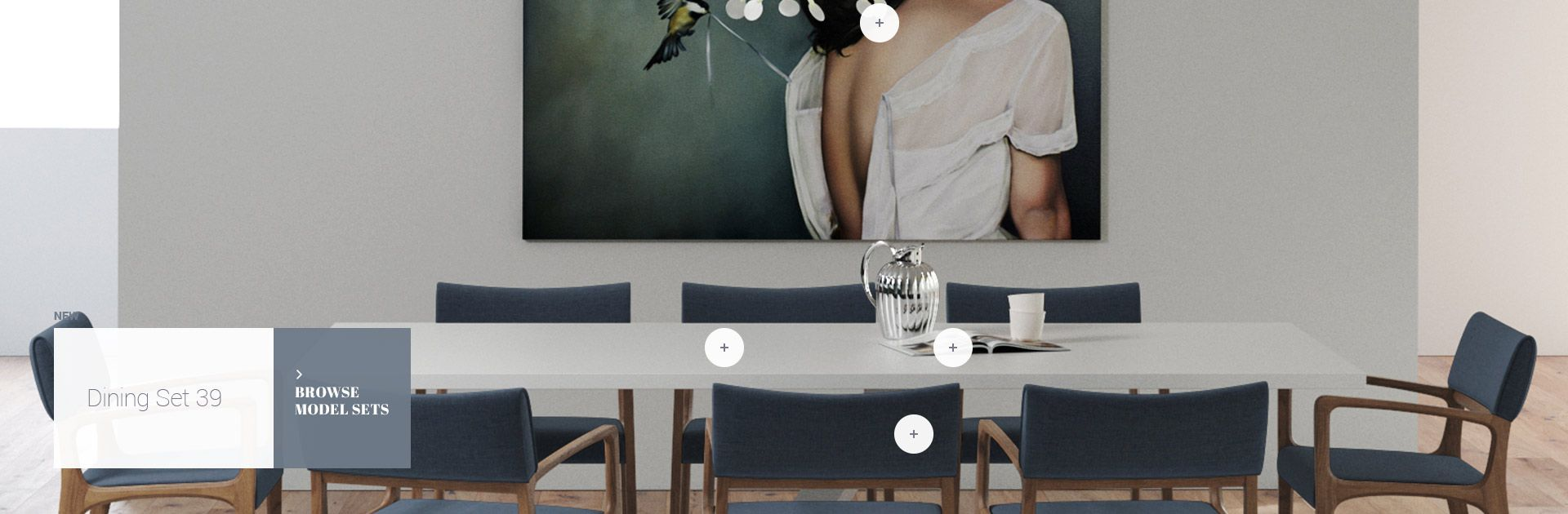 Design Connected 3d models of furniture for interior design