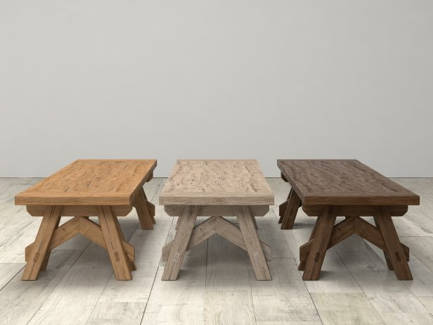 Benson Sawhorse Coffee Table 3d Model Restoration Hardware