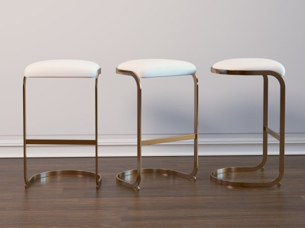 Chrome Cantilevered Bar Stool 1