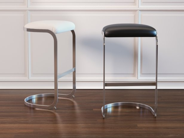 Chrome Cantilevered Bar Stool 3