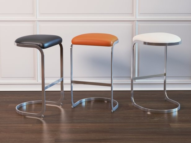 Chrome Cantilevered Bar Stool 2