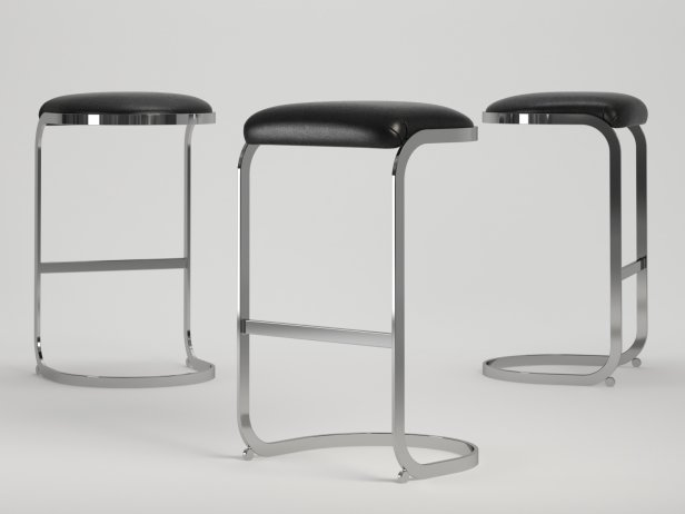 Chrome Cantilevered Bar Stool 4