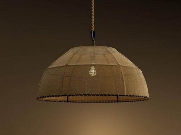 Burlap dome pendant lamp 3d model restoration hardware burlap dome pendant lamp 2 aloadofball Images
