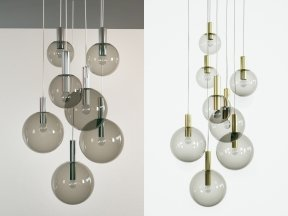 Brass and Smoked Glass Ceiling Lights