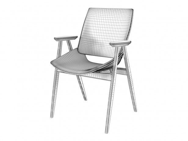 Shell Wood Armchair Upholstered Seat and Back 5