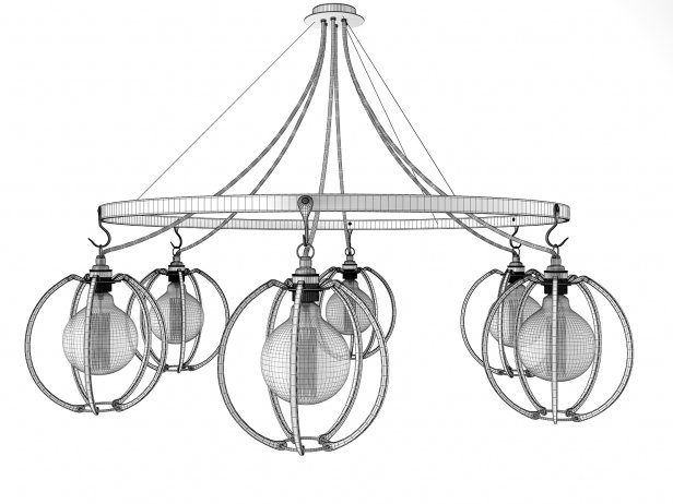 Farrier's Cage Six Circle Globe Chandelier 5