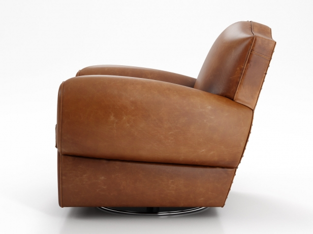 1940s French Mustache Leather Club Swivel Chair 3d Model