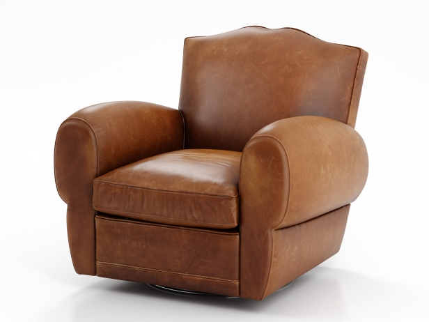 1940s French Mustache Leather Club Swivel Chair 2