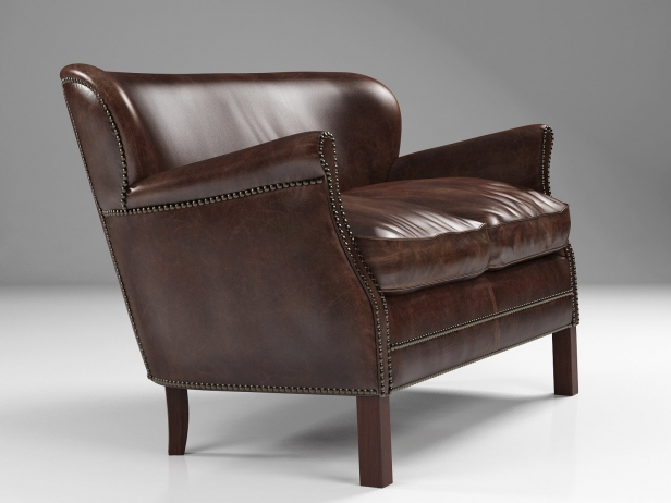 professor's leather double chair with nailheads 3d model